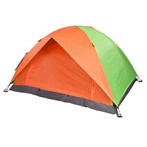 Double-Layer Tent - TOOGOO(R) Folding Double-Layer Waterproof 2 Persons Tent Orange+Green