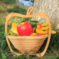 Bamboo Apple Shaped Multifunctional Foldable Fruit Basket For Sale