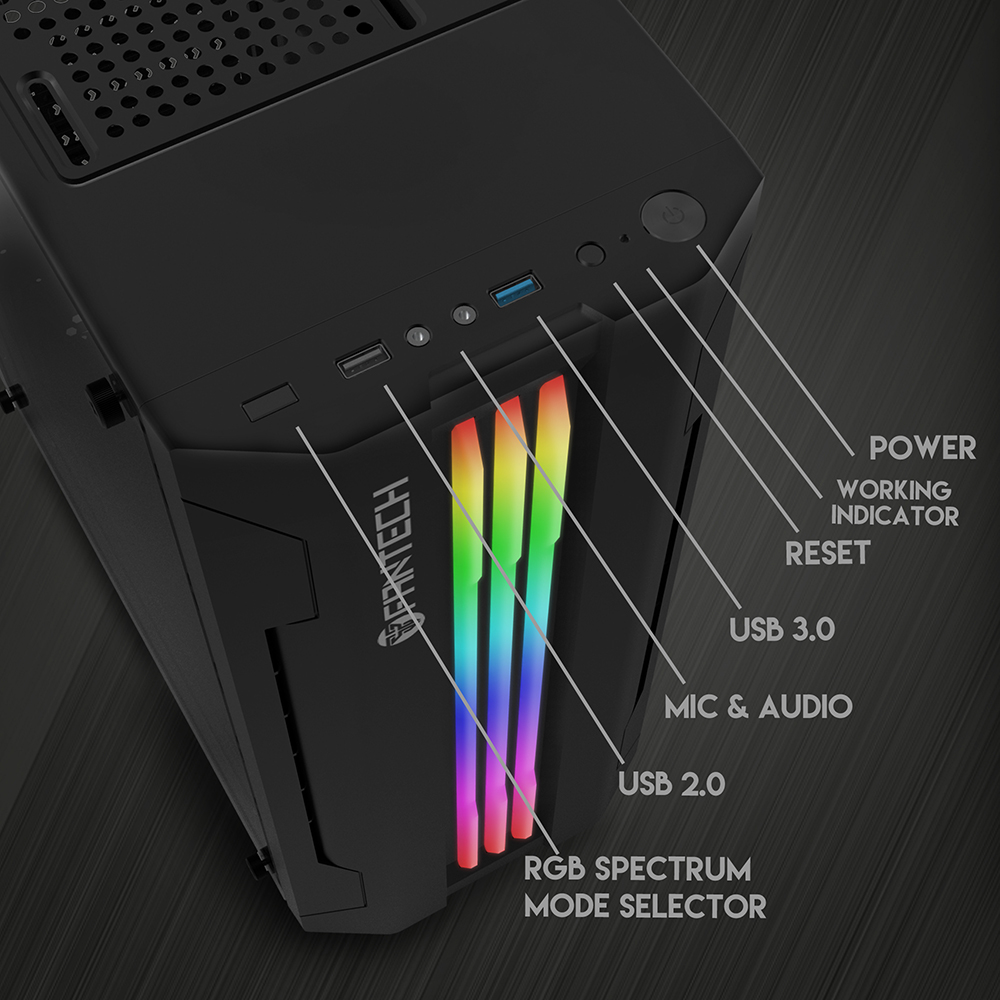 FANTECH STRIKE CG72 RGB Middle Tower Case 5