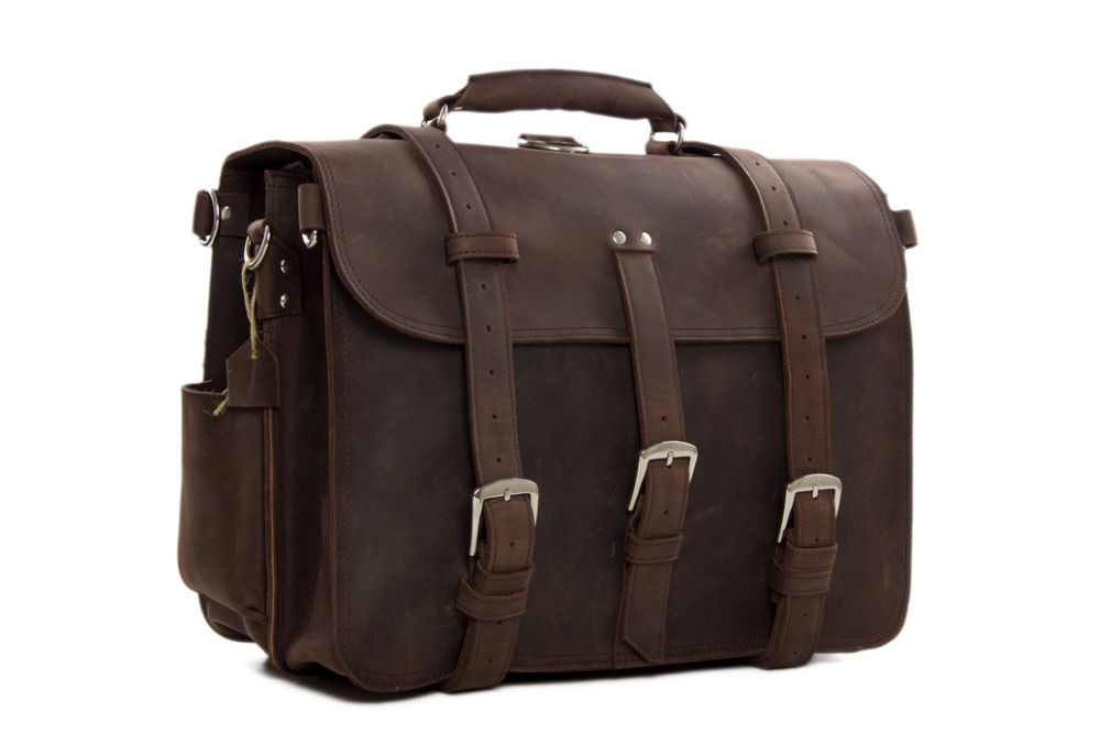 ROCKCOW Vintage Men's Thick Genuine Leather Luggage Backpack Large Travel Bag Duffle Bag 7072