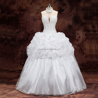 2017 beads fish bone spaghetti strap organza ball gown wedding dress with real pictures