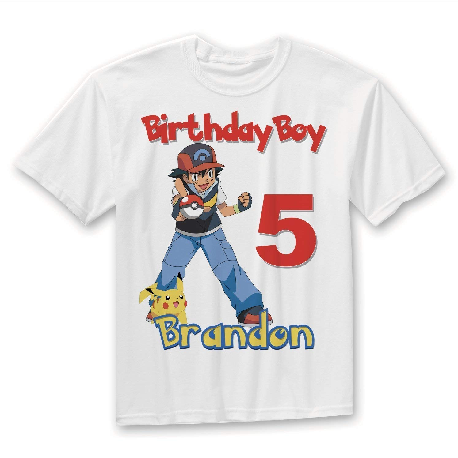 dda40a92 Get Quotations · Personalized Custom Pokemon Birthday shirt, Pokemon  Birthday shirt