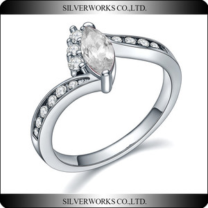 Factory Wholesale Indian rings jewelry natural clear diamond wedding rings 925 silver sterling rings