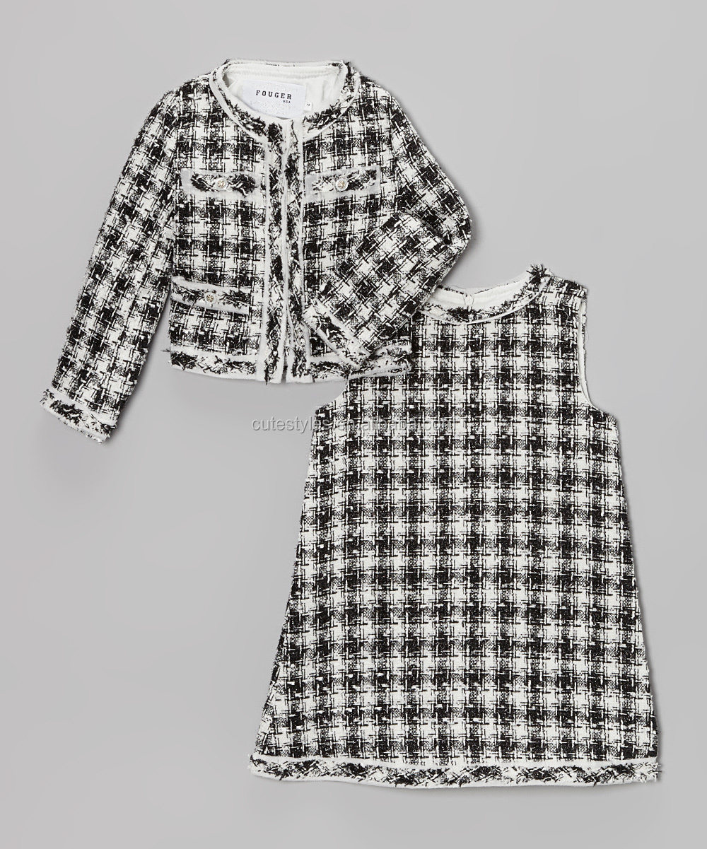 New Arravial Fashion Girl Autumn Clothing set Black White Houndstooth Shift Dress+Jacket for kids Outfit Baby wear Z-CS80730-2