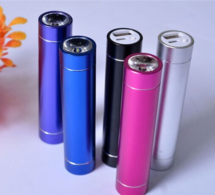 Mini 2600Mah Aluminum Shell Gold Band Power Bank with Flashlight