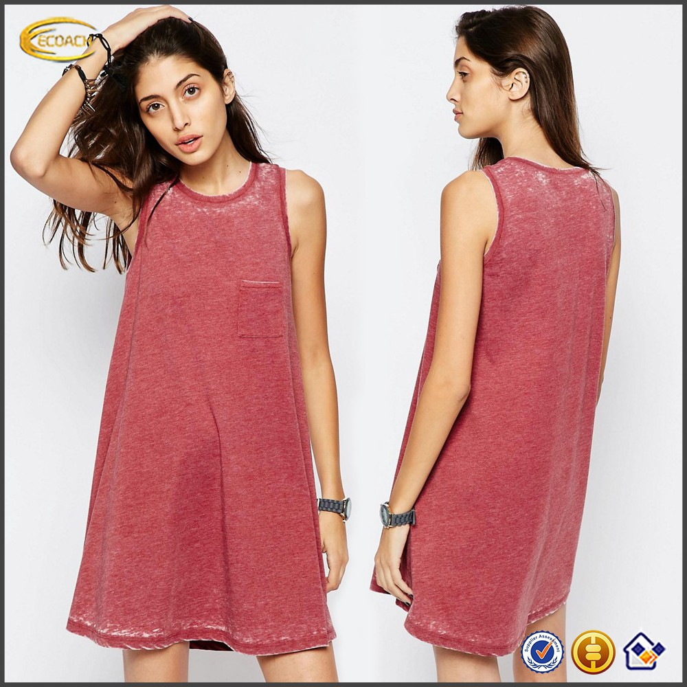 Ecoach Wholesale OEM 2016 New Arrival Women Sleeveless Drop Arm Aline In Burnout Casual Loose Fit Dress with Chest Pocket