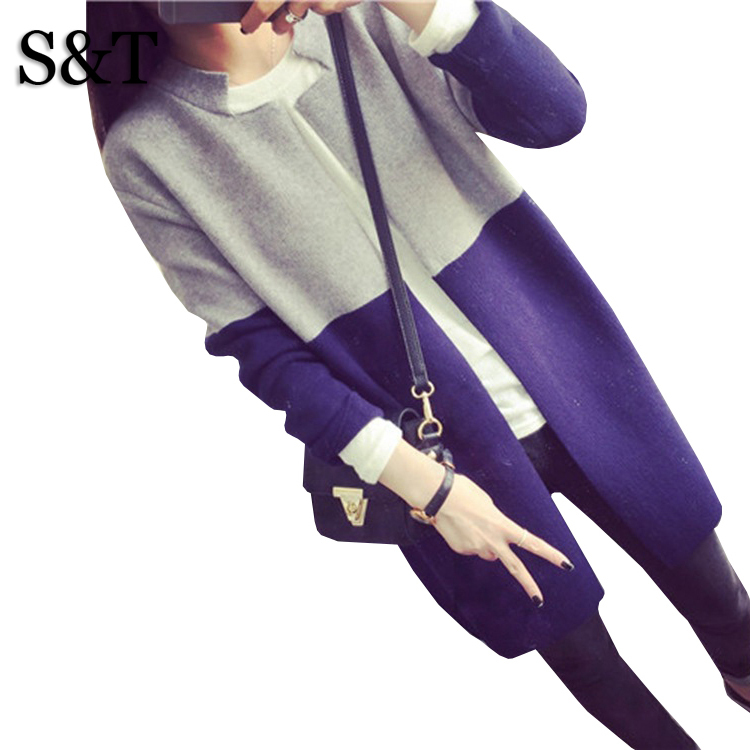 New 2015 Autumn Winter Women's Retro Stitching Color Slim Long Knitting Sweaters Fashion Casual Clothing Women Sweater Coats