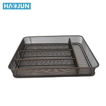 Black Silver Rectangular Basket Tray 5 Section Wire Mesh Cutlery Tray