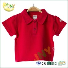 Summer short sleeve baby boy clothing 100% cotton plain red polo printed newborn baby polo T-shirt wholesale