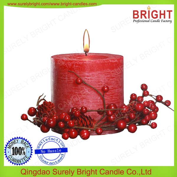 Red Color Flower Scented Pillar Candles 3x3