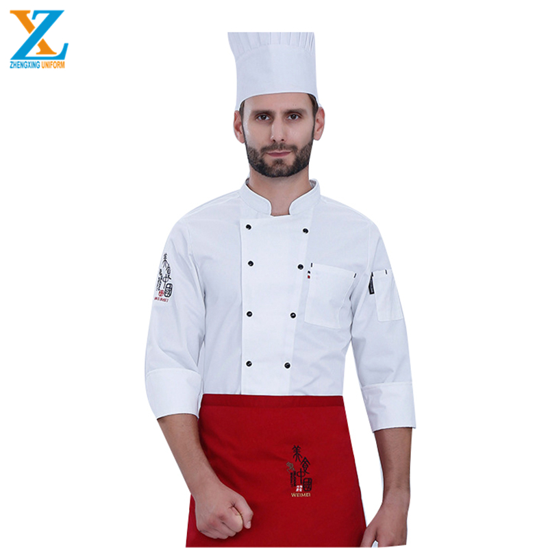 Doubles Button Classic Jacket Cuff Pocket Portable Uniform for Restaurant Chef