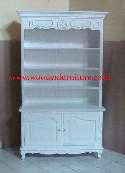 White Painted Bookcase French Style Showcase Antique Display Cabinet Office Furniture Vitrina European Home