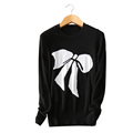 black with white bow print pullovers 3 color standard sweater 100 pure cashmere long sleeves O