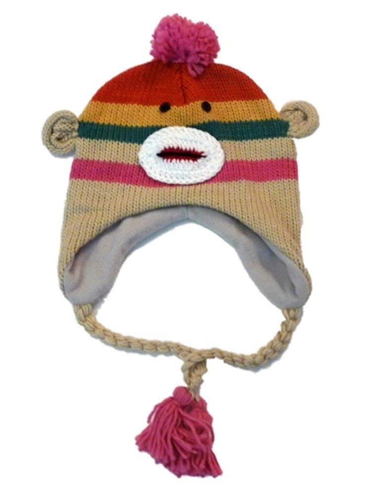 db951de5fb9 Get Quotations · Manhattan Hat Company Womens Pink Striped Sock Monkey  Peruvian Hat Pom Trapper