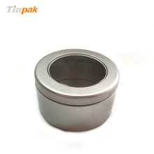 silver finish round tin soy candle jar with window