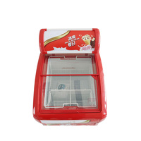 Convenience Store Small Mini Glass Door Red Ice Cream Display Chest Freezer