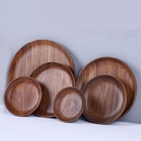 Black Walnut Solid Wood Round Tableware Serving Tray Handcrafted Decorative Trays Food Tray Serving Platters