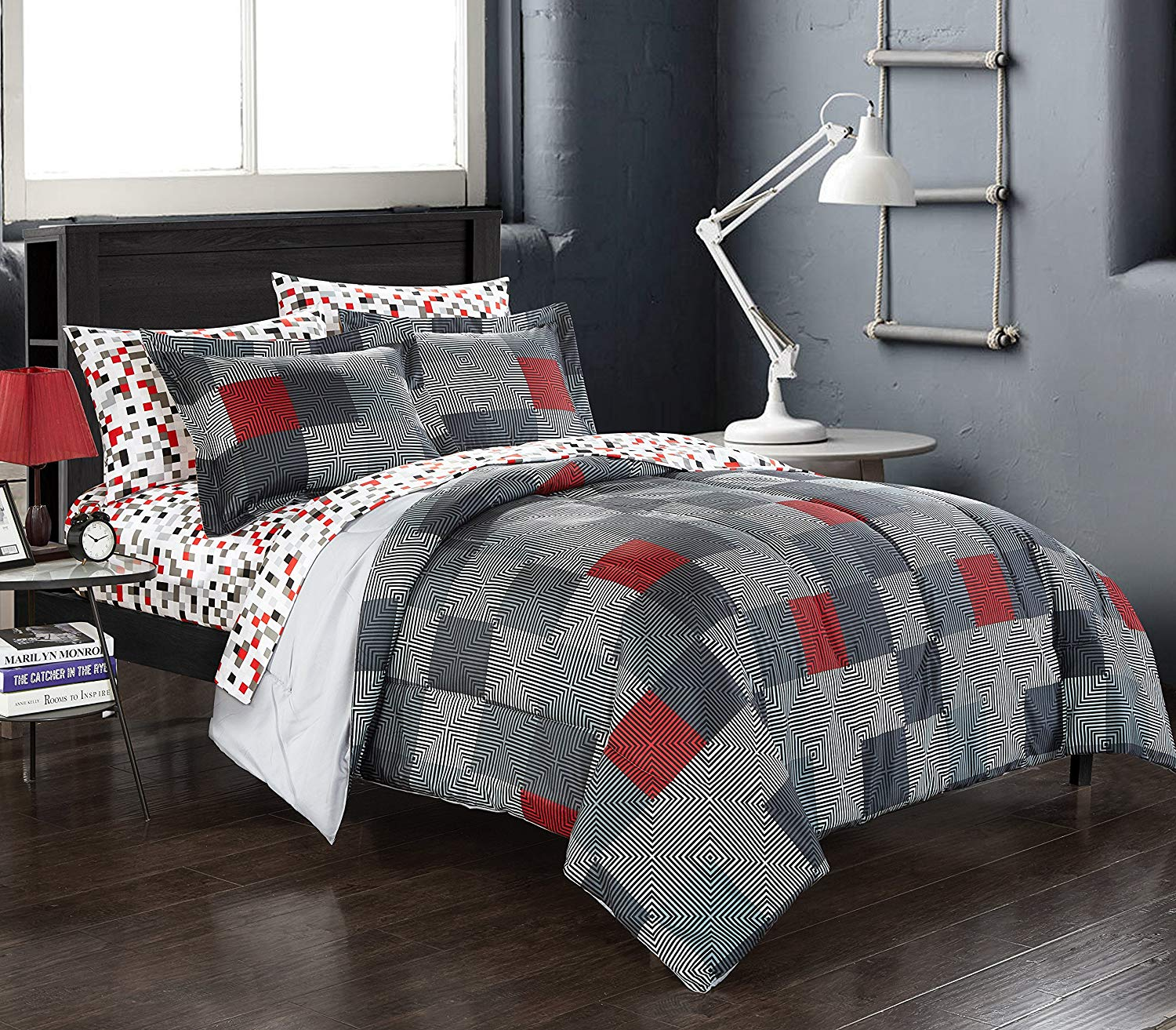 CA 7 Piece Grey Red Geo Blocks Comforter Queen Set, Gray White Black Square Pixel Bedding Geometric Designs Large Checked Pattern, Reversible Polyester