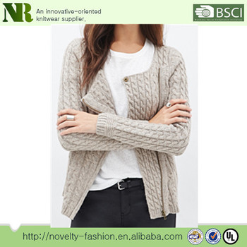 ee2d109387 Sweater For Women Hand Knitted Full Zip Cardigan Short Sleeves Fashion Pure  Color
