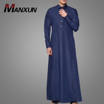 Modern Style Islamic Clothing Casual Long Sleeve Men Jubba Thobe High Quality Polyester Fabric Plain Thobe
