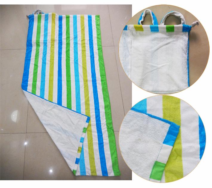 Free Sample [10% discount ] fashion wholesale custom printed cotton beach towel bag set