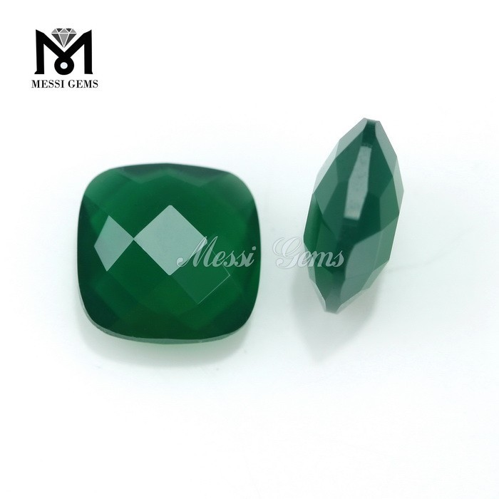 Messi Gems Faceted Loose Stone Cushion 10 x 10 Emerald Agate Gem