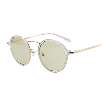 MS012 big face white lens frame gold plated silver sunglasses