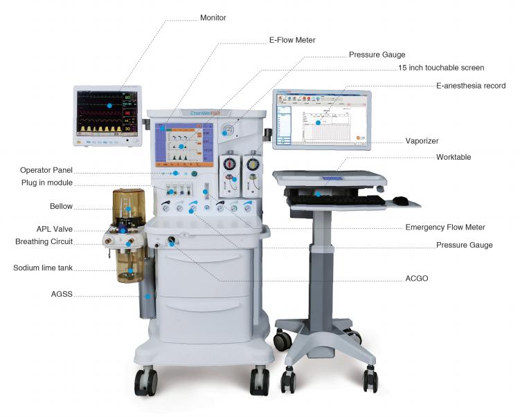 Best quality hospital equipment 15 inch LCD screen anaesthesia machine CWM-303