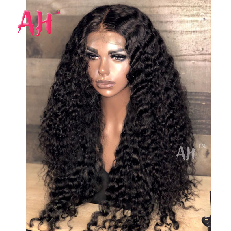 Deep Wavy Curly Human Hair Lace Front Wig Raw Cambodian Full Cuticle Virgin Hair New Arrival Heavy Denisty13*4 Lace Frontal Wigs