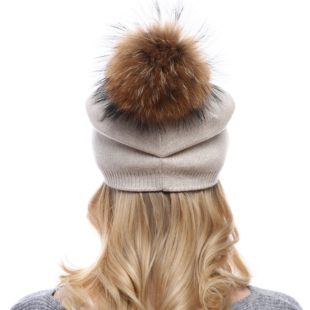 Korean Style Women Winter Warm Knitted Beanie Hat With Real Raccoon Fur Pom Pom Ball Girl Bucket Hat