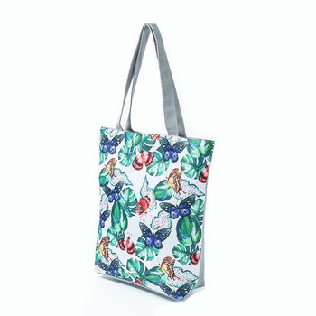 e01d9c7e2c82 New red flower printing ladies  shopping beach bags butterfly printing  canvas tote handbags for women