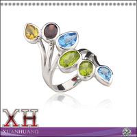 Beautiful Design Sterling Silver Pearl Blue Topaz Peridot Garnet Ring