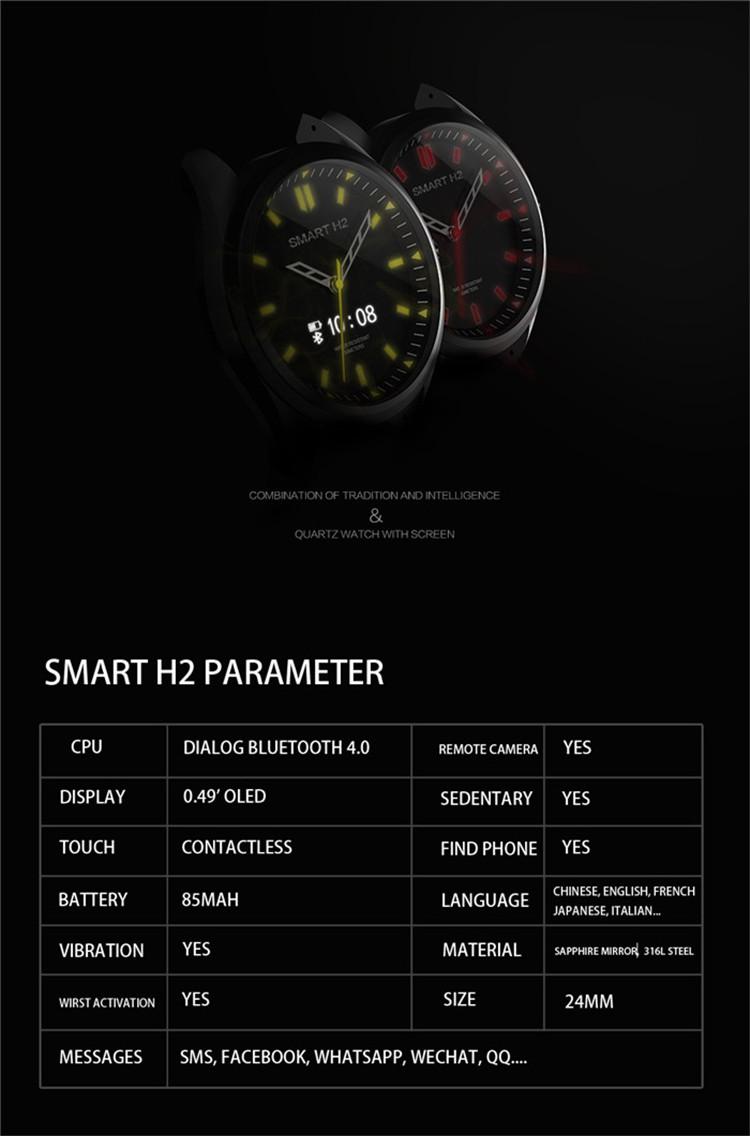 3ATM Hybrid smartwatch H2 Japan Movt Novel Water Resistant Digital Quartz Wrist Android Watch Stainless Steel Smart Watch