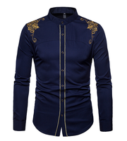 collarless mens golden embroidery dress shirt for business