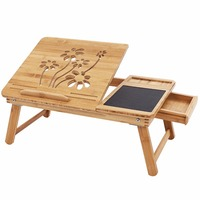 Bamboo Lap Desk Portable Serving Tray with Tilting Top Storage Drawer