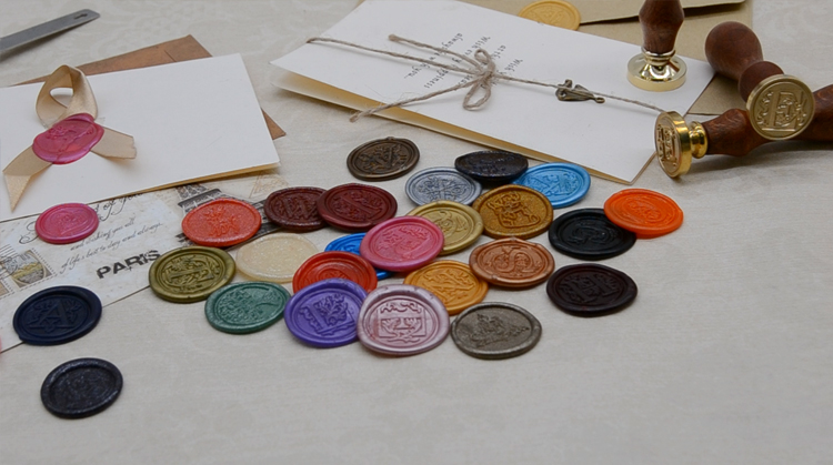 ring package wax seal fashion label wedding wax seal