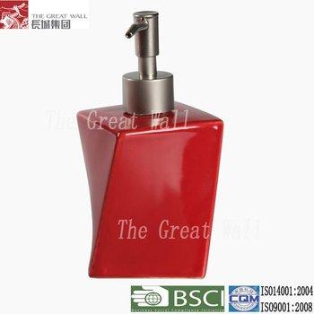 Red Ceramic Liquid Soap Dispenser