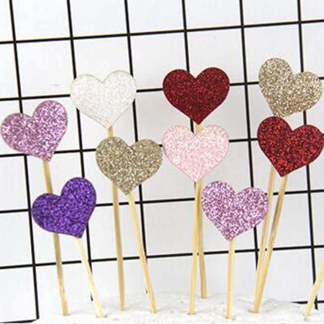 Party birthday decoration glitter love cake glitter cake topper happy birthday cup cake topper