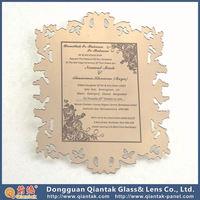 Mirror Silvery Wedding Acrylic Invitation For Square Printing Card