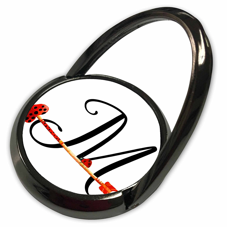 3dRose Anne Marie Baugh - Monograms - Cute Watercolor Red and Black Ladybug Heart Arrow Monogram M - Phone Ring (phr_267743_1)