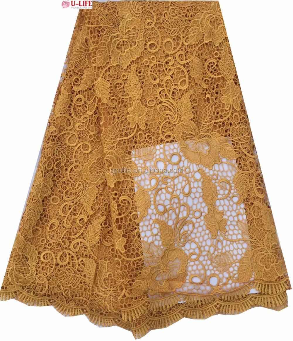 Wholesale Plain Gold Embroidery Guipure Lace Wedding Dress/African Lace Fabrics (W2424)