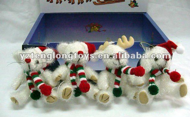 15cm custom white animal christmas day soft plush bear with scraft and hat
