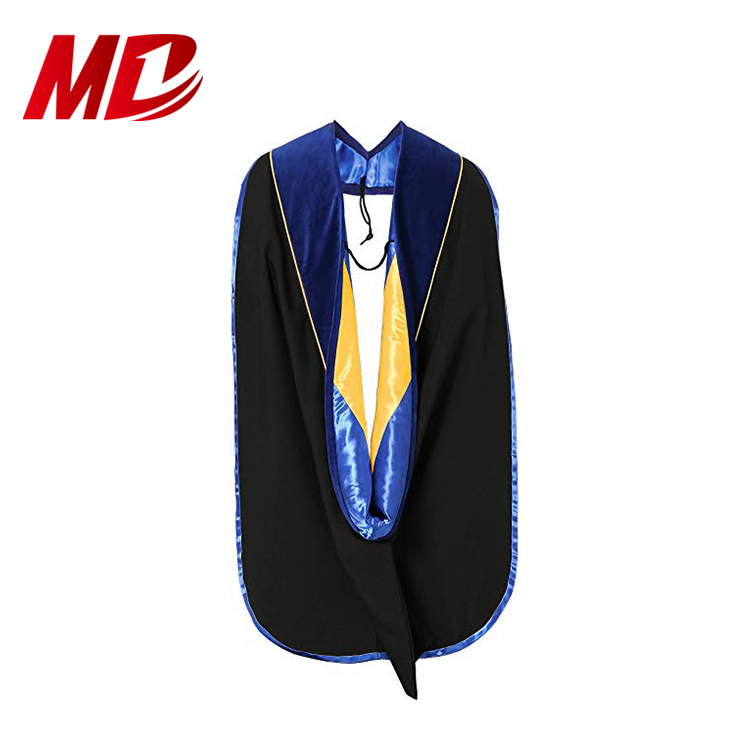 Deluxe Doctoral Graduation hood In stock PhD dark blue/Maroon/Gold
