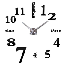 Home decorations big silverl wall clock Modern design large decorative designer wall sticker watch wall hours W015S
