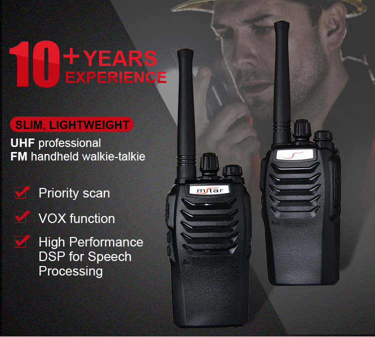 Mstar M8 Economic Durable 7W UHF Vhf Radio Walkie Talkie For Outdoor Hotel Restaurant