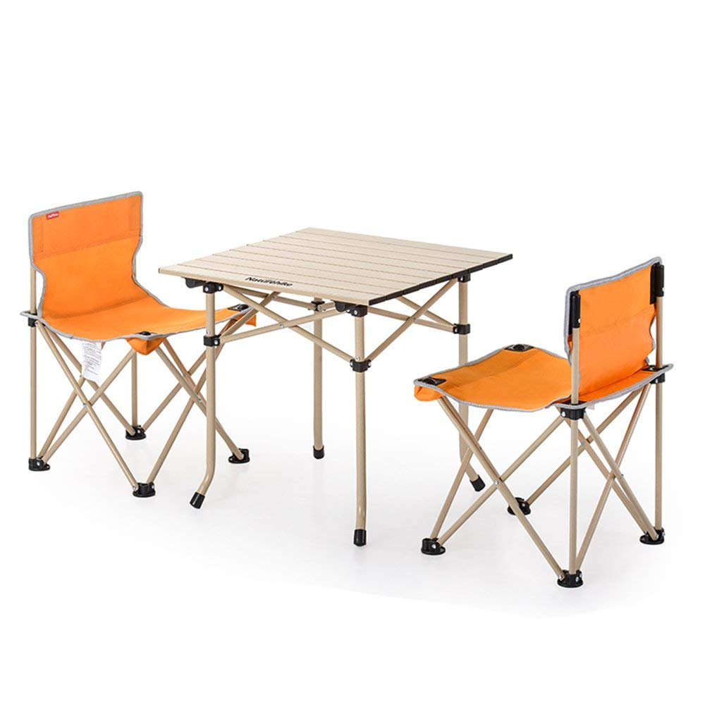 GZH Table And Chair Outdoor Portable Folding Table And Chair Combination Package 3 Sets Of 5 Sets Picnic Barbecue Camping Set (Color : Orange, Size : Chairs2 Table1)