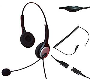 Audicom Binaural Call Center Telephone RJ Headset Noise Cancelling Headphone with Micr and Quick Disconnect for Grandstream GXP14XX GXV3275 IP Phones
