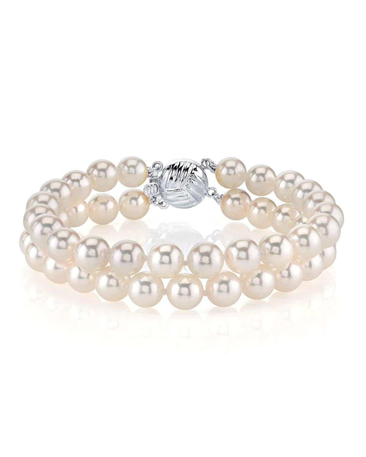 The Pearl Source 14K Gold Double Japanese Akoya Saltwater White Cultured Pearl Bracelet