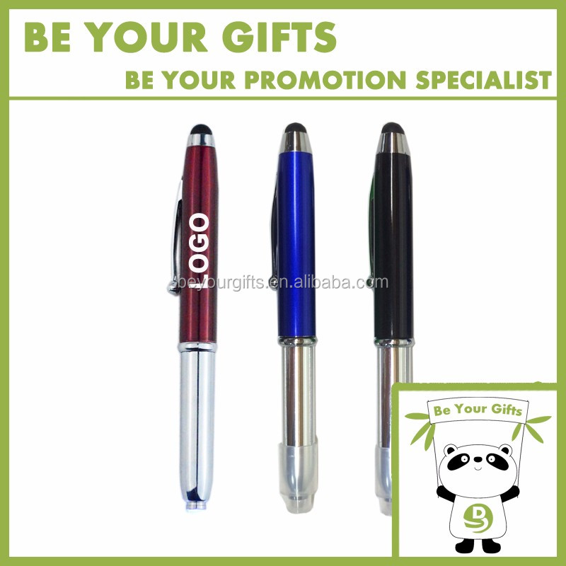 Custom Logo Imprint Multi-functional LED light ballpoint pen with stylus touch screen