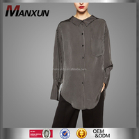 Women Wear China Apparel Companies Long Sleeve Ladies Fashion Clothing Black Striped Ladies Tops